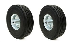 2 Pack 10 Flat Free Tubless Tire Wheel 4 Hand Truck Dolly Go Kart Wagon Foam