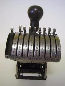 American Numbering Machine Model 43 Speed Set 9 Place wheel Super Rare Stamp