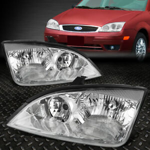 For 2005 2007 Ford Focus Pair Chrome Housing Clear Side Corner Headlight Lamp