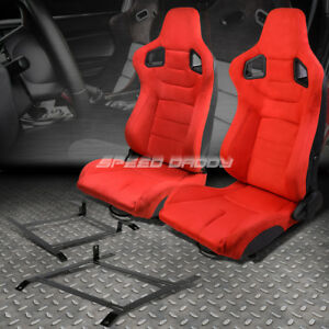 2x Red Suede Rear Carbon Fiber Look Racing Seat Low Mount Bracket For 03 09 350z