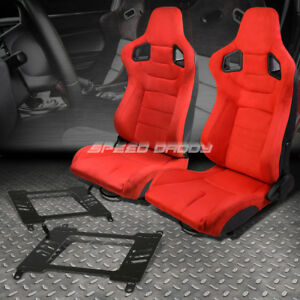 Pair Red Suede Rear Carbon Fiber Look Racing Seat Bracket For 03 08 Nissan 350z