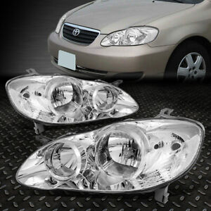 For 2003 2008 Toyota Corolla Pair Chrome Housing Clear Side Headlight lamp Set