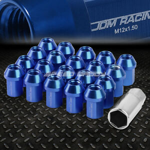 Jdm Close End Aluminum Blue 20 Lug Nuts Set Adapter M12x1 5 25mm Od 35mm Tall