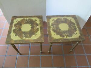 Mid Century Set Pair 2 Stacking Nesting Tables Formica Square Tops Atomic 1960