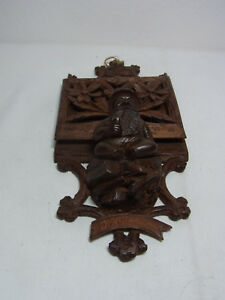 Antique Swiss Brienz Carved Wood Letter Holder Gnome With Pipe Av