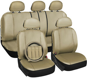 Faux Leather Beige Seat Cover For Honda Civic Steering Wheel belt Pad head Rests