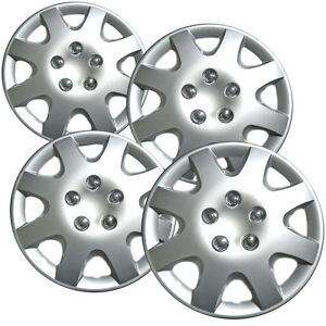 4 Piece Set 14 Inch Fit Hub Cap Silver Lug Full Skin Rim Cover For Steel Wheel