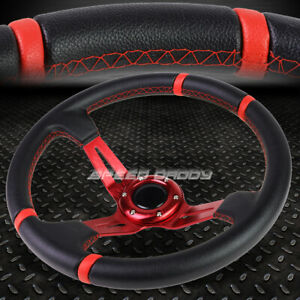 3 5 Deep Dish Red Spoke Stripes Lightweight 6 Bolt Racing Steering Wheel