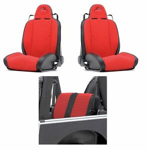 Smittybilt Black red Xrc Rear Seat Cover W pair Front Seats Kit For Jeep Cj 7
