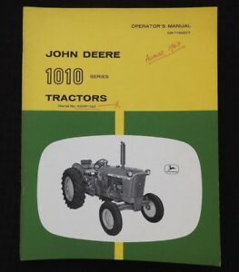 1963 64 John Deere 1010 Row crop Utility Orchard Tractor Operators Manual Sohio