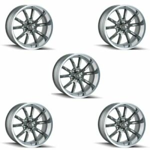 Ridler 650 2165g38 Set Of 5 Style 650 20x10 5x114 3mm 38 Offset Grey Rims