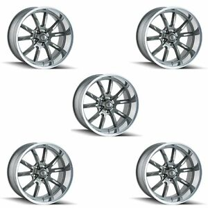 Ridler 650 5865g Set Of 5 Style 650 15x8 5x114 3mm 0 Offset Grey Rims