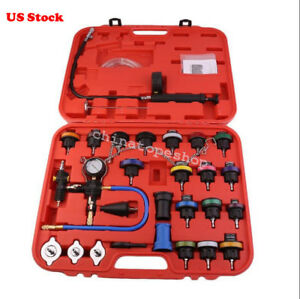 27pc Cooling System Radiator Pressure Tester Kit W Coolant Purge refill Adapter