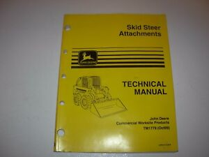 John Deere Skid Steer Attachments Technical Manual Tm1779