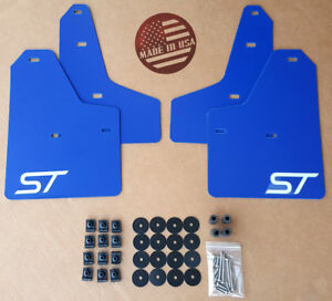 sr 11 18 Ford Focus St Se S Mud Guard Flaps Set Blue W Logo Hardware Kit