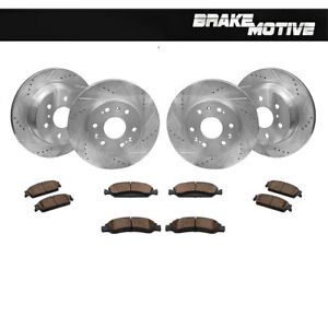 Front rear Rotors Ceramic Brake Pads For Escalade Chevy Avalanche Tahoe Yukon