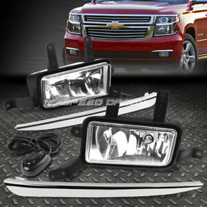 For 15 18 Tahoe Suburban Pair Chrome Lens Silver Cover Fog Light Switch Harness