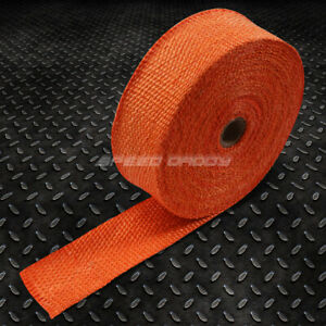 2 X 50ft 15m Fiberglass Exhaust Header Down Pipe Turbo Manifold Heat Wrap Orange