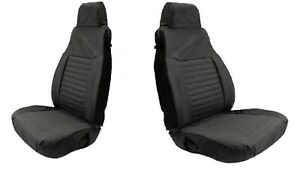 Rampage Pair Of Black Front Seat Covers W Single Rear Cover For Jeep Wrangler Tj