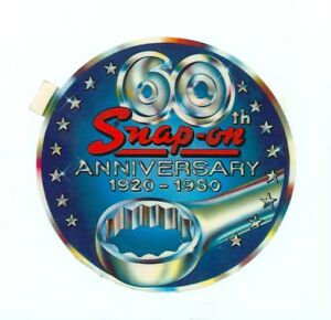 Rare Old Vintage Snap On Tools Sticker Decal 60th Anniversary Tool Box Ssx651