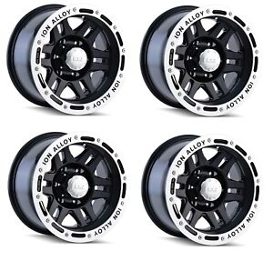 Ion Wheels 133 6883b Set Of 4 133 Black Machined Lip 16x8 Wheels