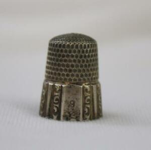 Sterling Silver Simons Bros Thimble Paneled Scroll Design Size 9