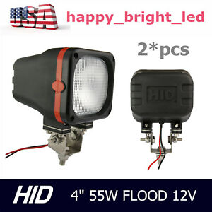 2pcs 55w 4inch Xenon Hid Work Light 12v Flood Beam Ute Atv Off Road Truck Jeep