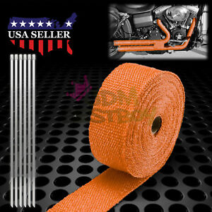 Orange Exhaust Pipe Insulation Thermal Heat Wrap 2 X 50 Motorcycle Header