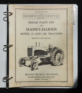 Original 1955 Massey Harris 33 33k Tractor Repair Parts Catalog Manual
