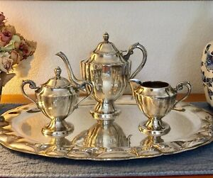 Myers Mexico Sterling Tea Pot Creamer Sugar Tray 4 Pc Set 1 600 Grams