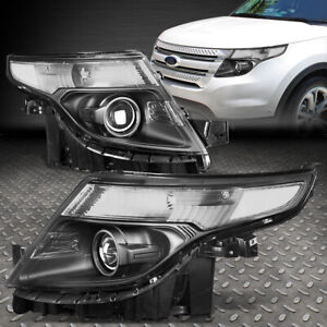 For 2011 2015 Ford Explorer Black Housing Clear Corner Projector Headlight