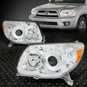 For 2006 2009 Toyota 4runner Chrome Housing Amber Side Projector Headlight lamp