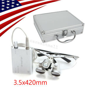 3 5x Silver Medical Surgical Dental Loupes Led Head Light Lamp Aluminum Case Kit