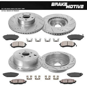 Front Rear Drill Brake Rotors Ceramic Pads For 2010 2011 2012 Subaru Legacy 2 5i