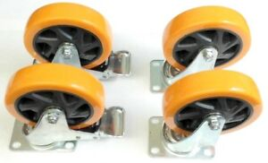 4 Industrial 5 Inch All Swivel Plate Polyurethane Casters W Two Braking Wheels