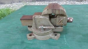 Antique Table Bench Vise 4 Jaws Machinist Swivel Base