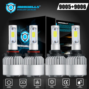 4x Cree 9005 9006 Led 3000w 225000lm Headlights Combo Kits High Low Beam 6000k