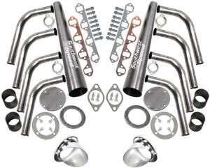 New Lake Style Header Kit Straight Angle Plug Sbf 260 351 3 1 2 Ceramic Turnout