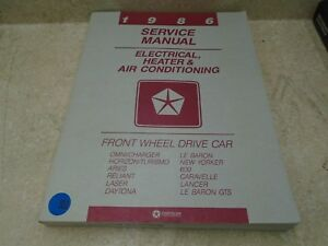 Chrysler Electrical Heater Ac Used Front Wheel Drive Car Manual Vp 1986 Vp Cm33