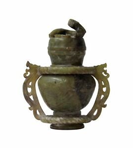 Hand Carved Chinese Jade Stone Double Ring Vase With Dragon Lid Statue N328