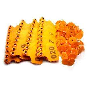 Us Stock 100x Orange 001 100 Number Plastic Livestock Ear Tag 3 X 2 4 For Cow