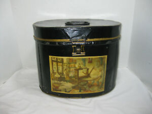 Vintage Black Metal Tole Tote Can Folk Art Hand Painted With Lid