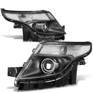Fit 2011 2015 Ford Explorer Black Housing Clear Corner Projector Headlight
