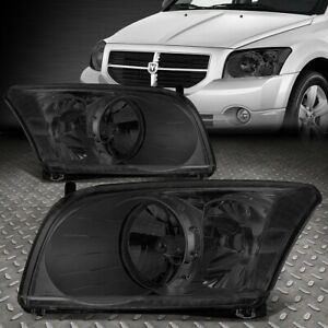 For 2007 2012 Dodge Caliber Pair Smoked Housing Clear Corner Headlight lamp Set