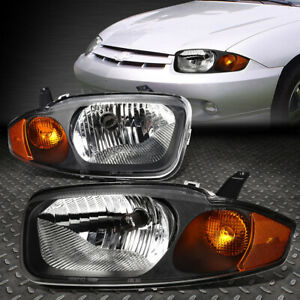 For 2003 2005 Chevy Cavalier Pair Black Housing Amber Corner Headlight lamp Set