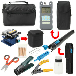11pcs Fiber Optic Ftth Tool Kit Fc 6s fiber Cleaver power Meter Splice Strip