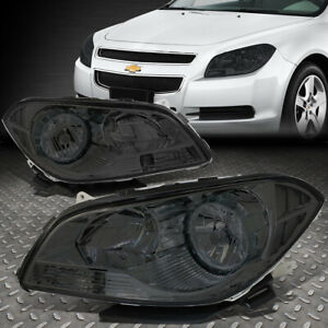 For 08 12 Chevy Malibu Smoked Housing Clear Corner Headlight Replacement Lamps