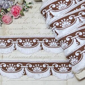 1y Vtg French Brown White Trim Ribbon Scallop Dress Dollhouse Jacquard Rococo