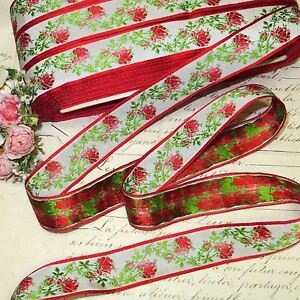 1y Vtg Antique French Woven Jacquard Red Pink Ombre Roses Ribbon Trim Cottage