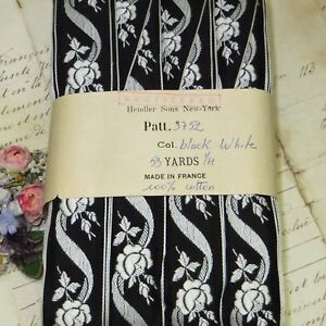1y Vtg French Cotton Black White Rose Flower Ribbon Trim Jacquard Brocade Lace